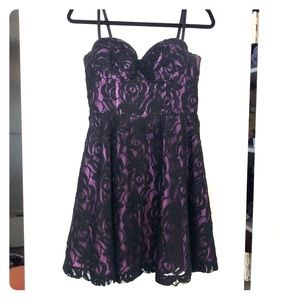 Guess Purple and Black Lace Dress